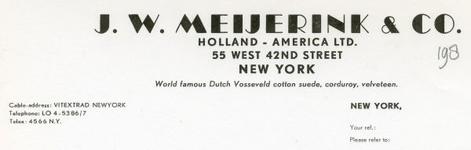 0043-0198 J.W. Meijerink & Co. Holland - America LTD.