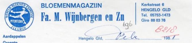 0043-0696 Bloemenmagazijn Fa. M. Wijnbergen en Zn. Aardappelen Groente Fruit Bloemen Tuinzaden enz.