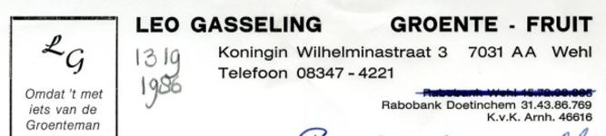 0043-1319 Leo Gasseling Groente - Fruit