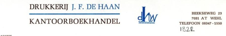 0043-1322 Drukkerij J.F. De Haan Kantoorboekhandel