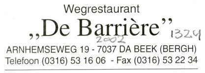 0043-1324 Wegrestaurant 'De Barriere