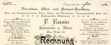 0684-0612 F. Fassin. Porzellan- Glas- und Steingut-Handlung. Hotel- und Restaurantgeschirre, Tafel-, Kaffee- und ...