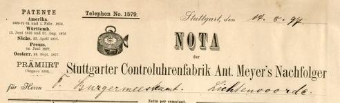 0849-3796 Stuttgarter Controluhrenfabrik Ant. Meyer's Nachfolger