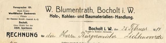 0849-3831 W. Blumentrath. Holz-, Kohlen- en Baumaterialen-Handlung