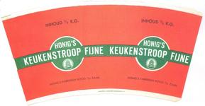 157 Bekermantel: Honig's Fijne keukenstroop. Inhoud 1/2 k.g. Honing's Fabrieken Koog a.d. Zaan