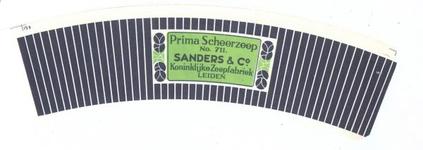159-2 Brugstans: Prima Scheerzeep No. 711. Sanders & Co. Koninklijke Zeepfabriek Leiden