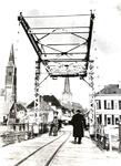2 De ophaalbrug over de Oude IJssel. Op de brug loopt de heer Ten Hoopen. Links de Rooms Katholieke kerk aan de ...