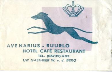 059 Hotel café restaurant 'Avenarius'. Uw gastheer W.v.d. Berg