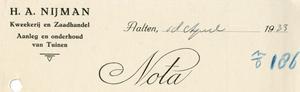 0043-0118 H.A. Nijman Kweekerij en Zaadhandel Aanleg en onderhoud van Tuinen