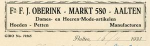 0043-0123 Fa. F.J. Oberink Dames- en Heeren-Mode-artikelen Hoeden - Petten Manufacturen
