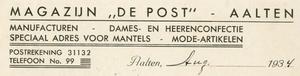 0043-0124 Magazijn De Post Manufacturen - Dames- en Heerenconfectie Speciaal adres voor mantels - Mode-artikelen