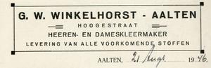 0043-0145 G.W. Winkelhorst Heeren- en Dameskleermaker Levering van alle voorkomende stoffen