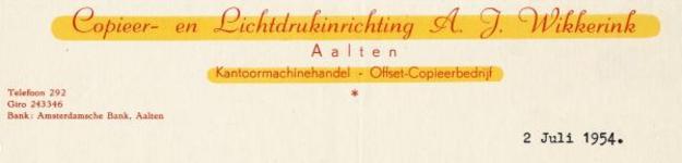 0043-0150 Copieer- en Lichtdrukinrichting A.J. Wikkerink Kantoormachinehandel - Offset-Copieerbedrijf