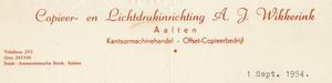 0043-0152 Copieer- en Lichtdrukinrichting A.J. Wikkerink Kantoormachinehandel - Offset-Copieerbedrijf