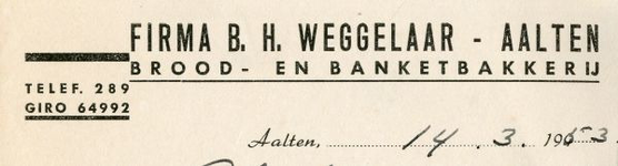 0043-0159 Firma B.H. Weggelaar Brood- en Banketbakkerij