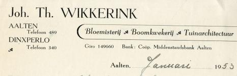 0043-0161 Joh. Th. Wikkerink Bloemisterij - Boomkwekerij - Tuinarchitectuur