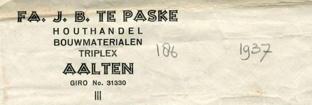 0043-0186 Fa J.B. te Paske Houthandel Bouwmaterialen Triplex