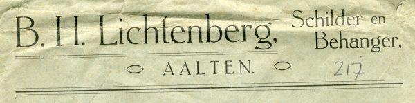 0043-0217 B.H. Lichtenberg Schilder en Behanger