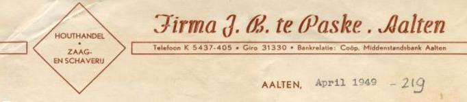 0043-0219 Firma J.B. te Paske Houthandel Zaag- en Schaverij