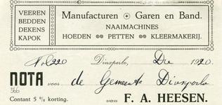0043-0566 F.A. Heesen Manufacturen Garen en Band Naaimachines Hoeden Petten Kleermakerij