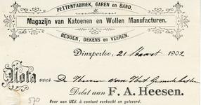 0043-0570 F.A. Heesen Pettenfabriek, garen en band Magazijn van Katoenen en Wollen Manufacturen Bedden, dekens en Veeren