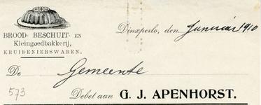 0043-0573 G.J. Apenhorst Brood- Beschuit- en Kleingoedbakkerij Kruidenierswaren