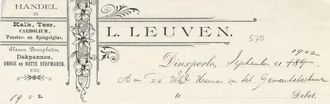 0043-0575 L. Leuven Handel in Kalk, Teer, Corboleum, Venster- en Spiegelglas Glazen deurplaten Dakpannen, droge en ...