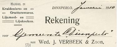 0043-0581 Wed. J. Verbeek & Zoon Handel in Kruideniers- en Grutterswaren Lijnmeel- en Lijnkoeken