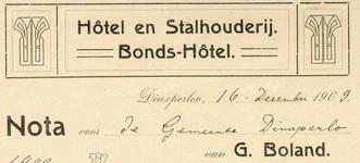 0043-0582 Hotel en Stalhouderij Bonds-Hotel G. Boland