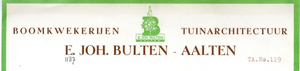 0043-1137 Boomkwekerijen Tuinarchitectuur E. Joh. Bulten