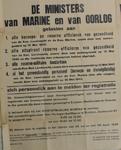 1096 Openbare kennisgeving uitgaande van de Ministers van Marine en Oorlog houdende de oproep alle beroeps- en reserve ...