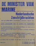 1098 Openbare kennisgeving uitgaande van de Ministers van Marine en Oorlog houdende de oproep dat al het personeel van ...