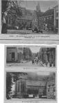 0799 Boven: Gezicht op hervormde kerk en gemeentehuis; Midden: kerstraat afslag Hofstraat; Beneden: Hervormde kerk
