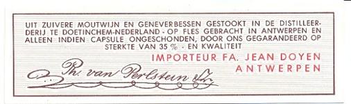 081 Ph. van Perlstein & Zn. Uit zuivere moutwijn en geneverbessen gestookt in de distilleerderij te ...