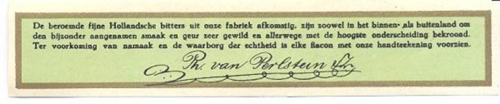 099 De beroemde fijne Hollandsche bitters uit onze fabriek afkomstig, zijn zoowel in het binnen- als buitenland om den ...