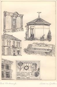 005 Van boven naar beneden, van links naar rechts: Houten pui in de Misterstraat; theekoepeltje in de achtertuin van ...