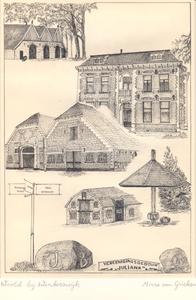 009 Hoofd- en bijgebouwen van boerderij Vriezenhuis in het Woold; herinneringssteen en gevelopschrift van ...