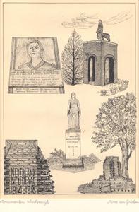 016 Oorlogsmonumenten: plaquette en beeld voor Tante Riek Kuipers-Rietberg door Gerrit Bolhuis (boven); Aan de ...