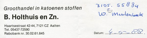 0684-1143 Groothandel in katoenen stoffen B.Holthuis en Zn
