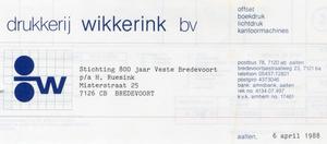 0684-1145 Drukkerij Wikkerink B.V. Offset Boekdruk Lichtdruk Kantoormachines