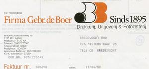 0684-1148 Firma Gebr. de Boer Drukkerij, Uitgeverij & Fotozetterij