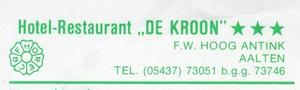 0684-1150 Hotel-Restaurand De Kroon F.W. Hoog Antink