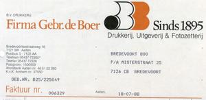 0684-1161 Firma Gebr. de Boer Drukkerij, Uitgeverij & Fotozetterij