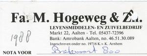 0684-1169 Fa. M. Hogeweg & Zn Levensmiddelen- en zuivelbedrijf