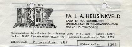 00337 Fa. J.A. Heusinkveld. Zaad- en pootgoedhandel, speciaalzaak in tuinbenodigdheden