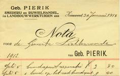 00447 Geb. Pierik. Smederij en rijwielhandel, in landbouwwerktuigen enz.
