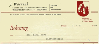00557 J. Waenink. Schilders - en behangersbedrijf. Verfwaren, glas, behangselpapieren
