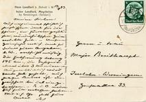 191-b Ansichtkaart met foto van huis Landfort (zuidgevel), zwartwit