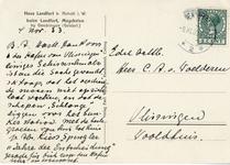 192-b Ansichtkaart van zuidgevel van huis Landfort