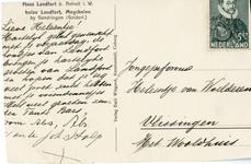 193-b Ansichtkaart met foto van huis Landfort (zuidgevel), zwartwit